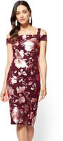 New York & Co. 7th Avenue - Cold-Shoulder Sheath Dress - Burgundy