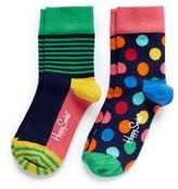 Happy Socks Half stripe and polka dot kids socks 2-pair pack