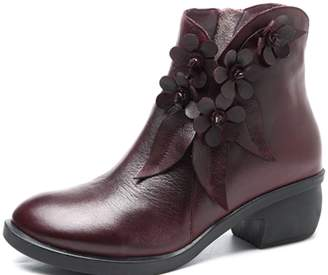 Kadell SOCOFY Women Fashion Autumn Winter Retro Handmade Leather Floral Soft Ankle Boots Shoes for Female Ladies for Daily Causal Party Office School Dress
