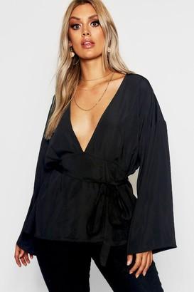 boohoo Plus Plunge Kimono Sleeve Top