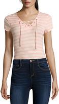 Self Esteem Short-Sleeve Lace-Up Bodysuit - Juniors