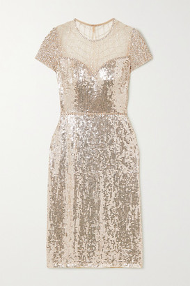 Jenny Packham Delphine Embellished Sequined Tulle Dress - Silver