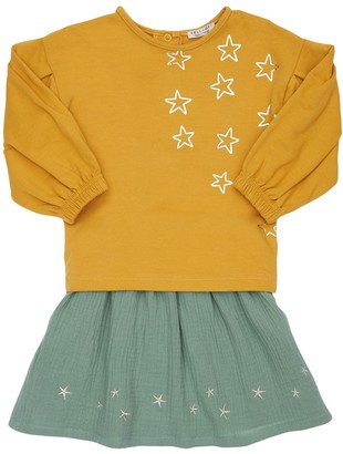 Yellowsub Cotton Sweatshirt & Velvet Skirt