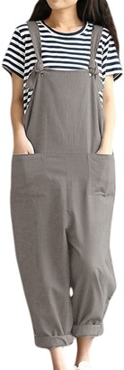 Vepodrau Women Cotton Linen Overalls Dungarees Vintage Baggy Loose Long Jumpsuits Rompers with Pockets Grey S