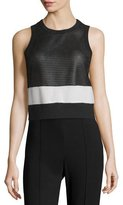 Rag & Bone Valerie Mesh Colorblock Tank, Black/White