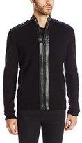 Calvin Klein Men's Premium Wool Acrylic Full Zip W/Faux Leather Detail 12GG
