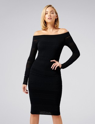 Forever New Sheana Lace Stitch Knitted Dress - Black - 4