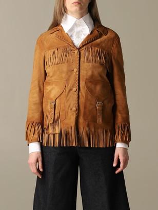 Golden Goose Blazer Saharan Suede Jacket With Fringes