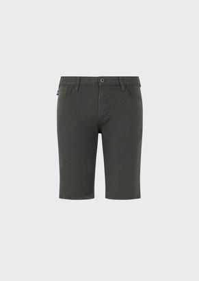 Emporio Armani Garment-Dyed Stretch Cotton Bermuda Shorts