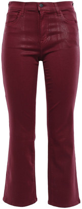 J Brand Selena Coated Mid-rise Kick-flare Jeans