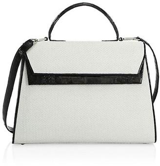 Nancy Gonzalez Medium Liza Crocodile & Raffia Top Handle Bag