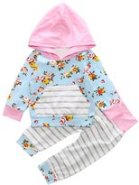 Flank 2PCS Kids Baby Boy Girl Floral Hoodie Tops Sweatshirt Pants Outfits