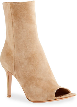 Gianvito Rossi 85mm Suede Peep-Toe Ankle Booties