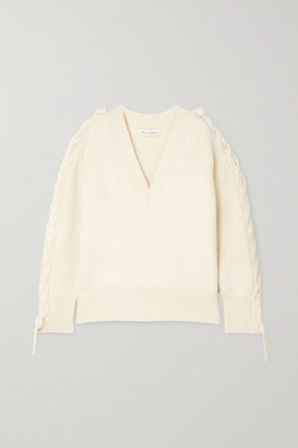 J.W.Anderson Cable-knit Ribbed Alpaca And Yak Wool-blend Sweater - Ivory
