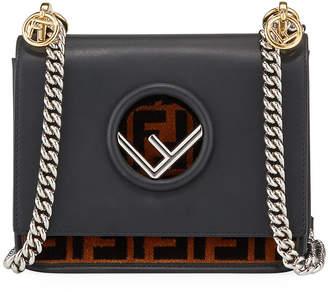 Fendi Kan I Small Leather & FF Velvet Shoulder Bag