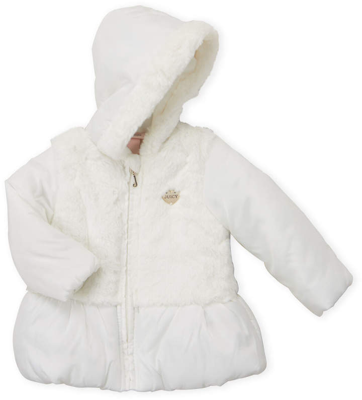 5f54d93aa Infant Girls) Faux Fur Peplum Hooded Jacket