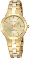 Pulsar Women's Analogue Watch with golden Dial Analogue Display and Stainless steel plated - PH7420X1