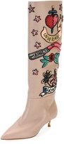 Valentino Garavani Loveblade Twist-Heel Embellished Knee Boot, Poudre