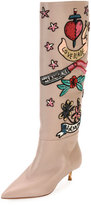 Valentino Loveblade Twist-Heel Embellished Knee Boot, Poudre