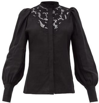 Isabel Marant Etima Broderie-anglaise Linen Blouse - Black