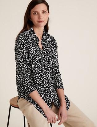 Marks and Spencer Animal Print Longline Long Sleeve Shirt