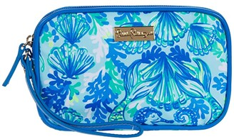 Lilly Pulitzer Gillie Wristlet (Seaglass Aqua Seeing Double Accessories Small) Clutch Handbags