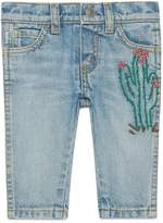 Gucci Baby embroidered denim pant