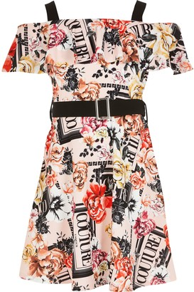 River Island Girls Pink printed frill bardot belted dress