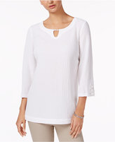 JM Collection Textured Keyhole Tunic, Only at Macy's