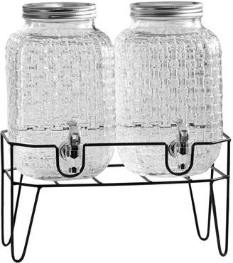 Jay Import Co Theo Glass Beverage Dispenser Pair with Stand