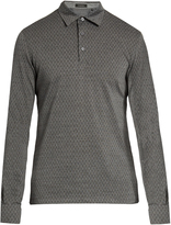 Ermenegildo Zegna Wool and cotton-blend long-sleeved polo shirt