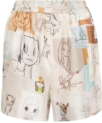Stella McCartney x Yoshitomo Nara printed silk shorts