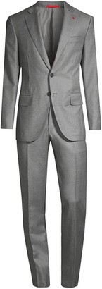 Isaia Royal Flannel Single-Breasted Wool Suit