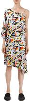 Topshop Metro Print Asymmetrical Midi Dress