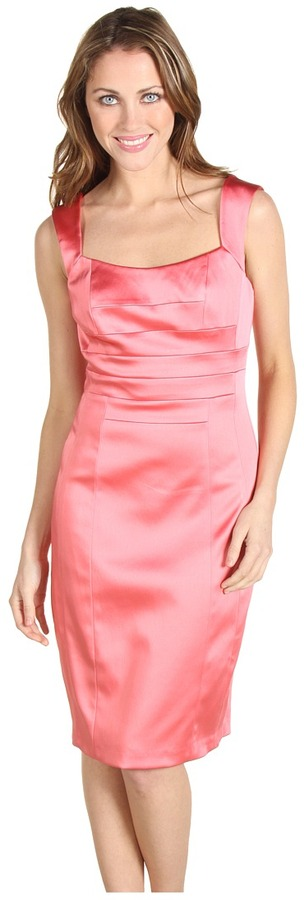 Jax Straight Satin Dress with Banded Bodice (French/Rose) - Apparel