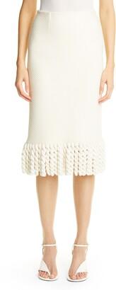 St. John Mini Float Texture Maxi Fringe Skirt