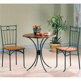 Coaster 5939 Metal & Wood 3 Piece Bistro Table/Chair Set