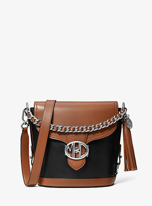 Michael Kors Collection MK Monogramme Two-Tone Leather Front-Flap Crossbody Bag - Black - Michael Kors