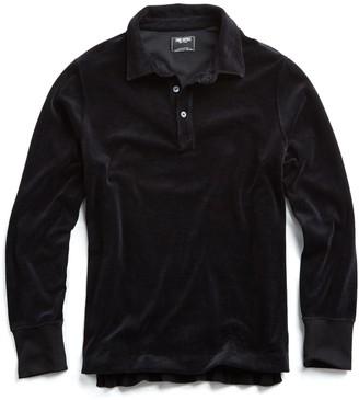 Todd Snyder Velour Polo Long Sleeve Polo in Black