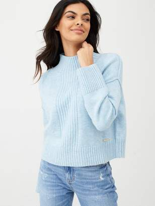 River Island High Neck Cropped Knitted Jumper-light Blue