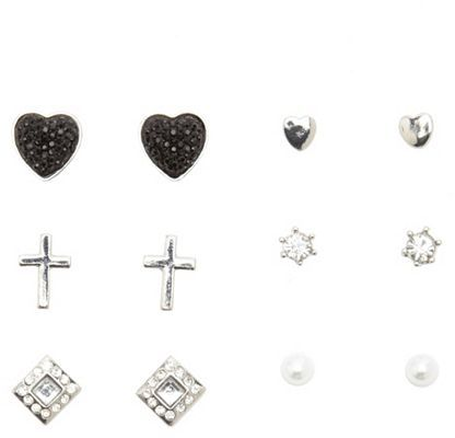 Charlotte Russe Rhinestone Heart Earring Set