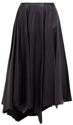 Marni Asymmetric-hem Leather Skirt - Womens - Dark Blue