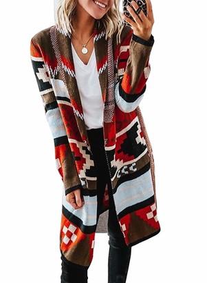 CORAFRITZ Womens Ethnic Style Long Sleeve Cardigan Knitwear Waist Tie Sweater Knee Length Open Front Cardigan