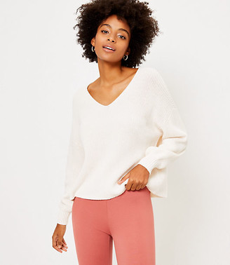 LOFT Ribbed V-Neck Sweater