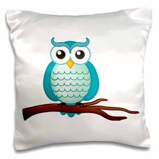 3dRose Aqua Wise Owl, Pillow Case, 16 by 16-inch