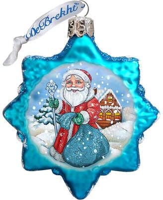 G.DeBrekht Santa with Blue Bag Glass Ornament