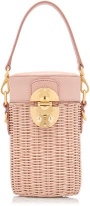 Miu Miu Midollino Leather-Trimmed Rattan Bucket Bag
