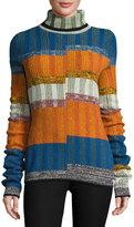 Joseph Turtleneck Split-Angle Striped Sweater