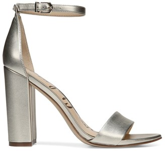 Sam Edelman Yaro Ankle-Strap Metallic Leather Sandals