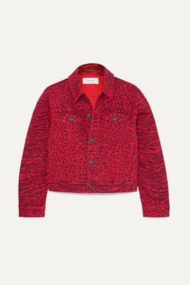 Current/Elliott The Baby Trucker Leopard-print Denim Jacket - Red